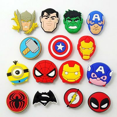 15pcs/set Kid Boy Gifts Cartoon Hero Logo Shoe Charms Fit Jibbit&Croc Wristbands