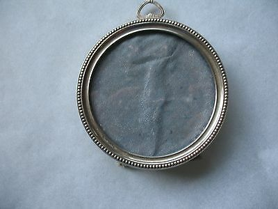 Vtg Silver Frame Small Round Stand Or Hang 3 inch