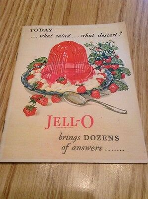 "JELL-O ""TODAY...WHAT SALAD...WHAT DESSERT"" vintage 1928 cookbook Jello"