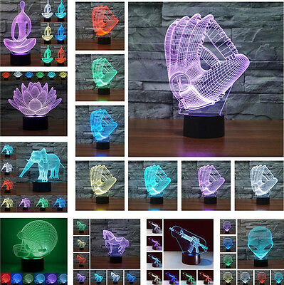 New Multi 3D Gloves Visual LED Night Light 7 Color Changing Table Desk Lamp Gift