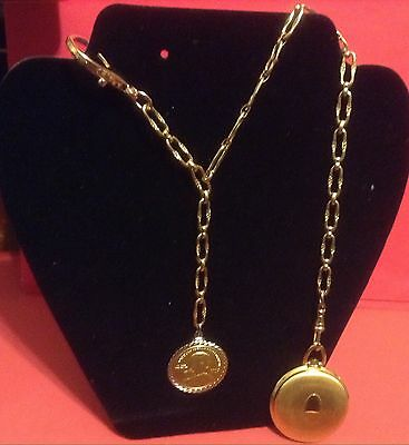 Unique Single Pocket Watch Chain With Drop Chain And Coin Fob
