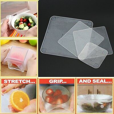 Reusable Silicone Food Bowl Covers Wrap,Keep Food Stretch and Fresh w/ OPP Bag