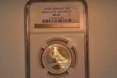 Germany, Weimar Republic: 1930-D 3 Mark- NGC MS-65.  Gorgeous.