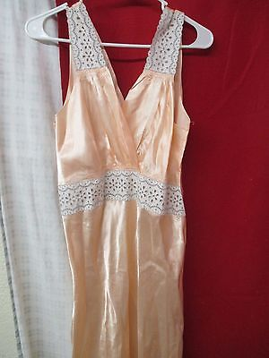 Vintage Woman's Nightgown Lace and apricot satin