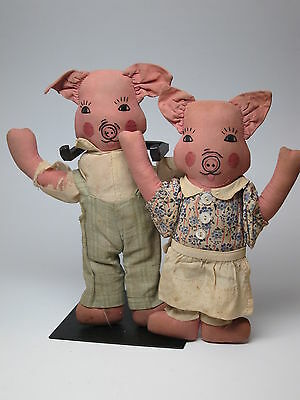 Pair of 1930s Fabric Cloth Pig Dolls Mr Mrs 9 - 10 inch Piggy Man Woman