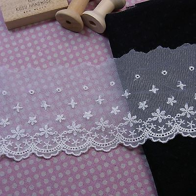 "Tulle Lace Embroidery Cotton Crochet Lace Trim 9cm(3.5"") Wide 1Yd"