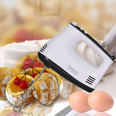 5 Speed Kitchen Electric Hand Mixer Egg Beaters Whisk Blender Whipper Dough Hook