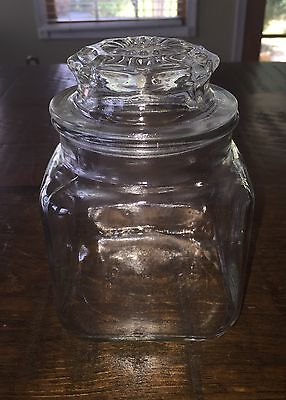 "Antique Clear Glass Mercantile Jar Bottle With Lid 6""x4"""