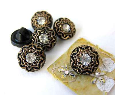 Vintage Glass Rhinestone Buttons. Gold Crystal Black Shank West Germany 10mm