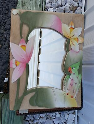 """Vintage Square Hand Crafted Wood Parrot Mirror Folk Indonesia Art 10"""""""
