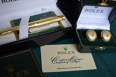 Rolex Pen & Cufflinks Set Gold Plated New Boxed 2016