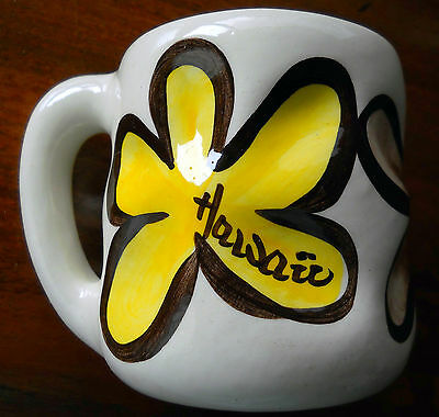 "Hand Made Hawaiian Ivory Brown Yellow Floral Mug Pohaku Kiln 3 5/8""Tall Plumeria"
