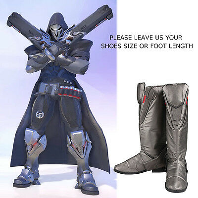 Game Props Overwatch Reaper Gabriel Reyes Cosplay Costume Shoes Boots