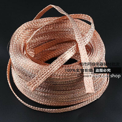 1m-10m 6mm Flat Bare Copper Braided cable wire sleeve, ground lead #Q0A ZX
