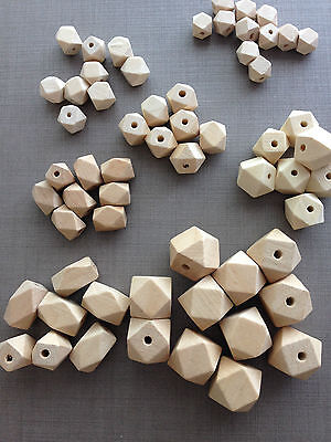 Natural Wooden Beads(geometric)10/12/14/16/20/22mm,Unfinished,Craft,polygon