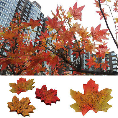 Pack of 100 Multi Colours Silk Autumn/Maple Leaf Wedding/Crafts Decoration/Diary