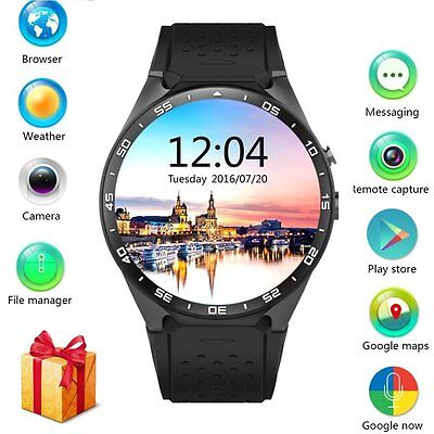 KW88 Bluetooth Smart Watch Heart Rate Monitor Camera Wifi for Android iOS iPhone