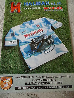 Halifax v Featherstone Rovers programme 12.9.93