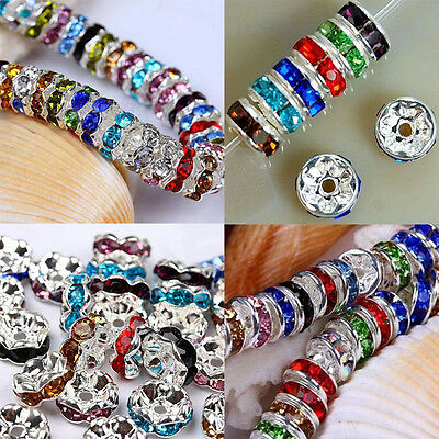 Wholesale Silver Plated Czech Crystal Glass Spacer Rondelle Beads Charm 8mm DIY