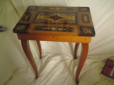 Vintage Ornate Wooden Sewing Box Table( NO KEY) SOLD AS SEEN.