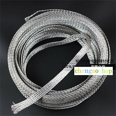 1-10m 11mm Flat Tinned Plated Copper Braided cable,shield tube sleeve #Q1189 ZX