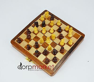 """Wooden 7"""" Handmade Folding Magnetic Chess Set Game Board with Box Fitting"""
