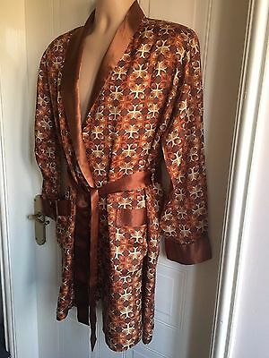Size M/L Brown Retro Vintage HG MENSWEAR Knee Length Smoking Jacket/House Coat