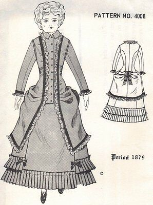 """Period DOLL DRESS PATTERN Victorian German French ANTIQUE / vintage look 16"""" 17"""""""