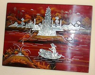 Vintage Asian Themed Hand Painted Lacquered Mother Of Pearl Inlay Picture