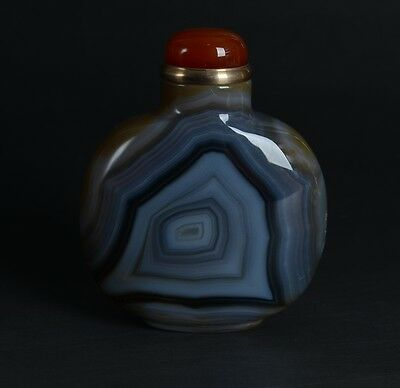 Chinese Black Brown Striped Handcrafted Natural Onyx Agate Snuff Bottle-JR12422