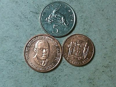 Jamaica . lot of 5 cents, 25 cents, 10 cents coins . Crocodile