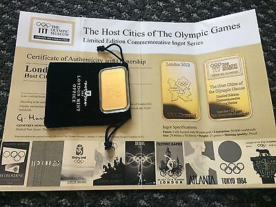 Olympic 2012 limited edition commemorative ingot series 24ct gold plated 25gram
