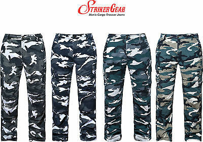 Mens Motorbike Motorcycle Cargo Camouflage Trousers With Protective Lining