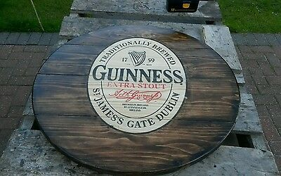 Guinness 22 inch barrel top round plaque wooden sign mancave shed bar