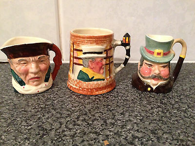 3 x Small Character Toby Jugs Lancaster Sandland Hand Painted England VELSBRO