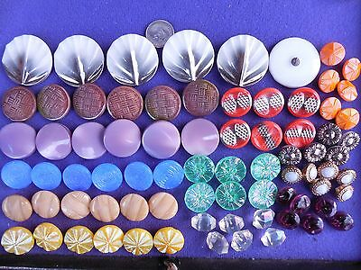 77 Lot Old  Czech Vintage Glass Buttons