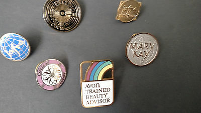 6 -  collectible lapel/coat/hat pin cosmetics JAFRA AVON MARY KAY  1 inch