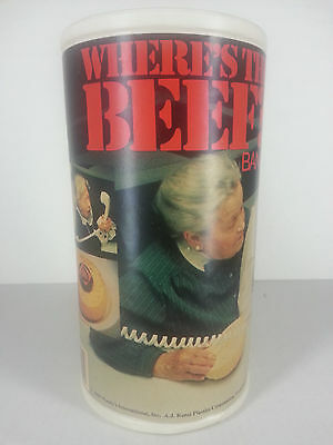 Vintage 1984 Where's the Beef Advertising Plastic Container Coin Bank Wendy's