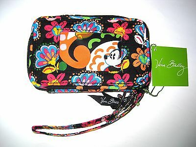 New Vera Bradley✿Midnight with Mickey Mouse Wristlet Purse Wallet ID Phone Bag
