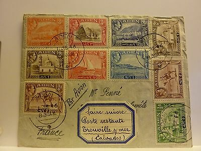 ADEN Envelope with 8 used stamps 1946 to France * George VI * Yemen