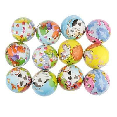 12pcs Animal Painted PU Sponge Ball Kids Squeezing Party Bag Cat Dog Toys