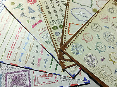 Craft Stamp Stickers 6 sheets Vintage Style Paper Seals Journal Scrapbook Cards