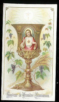 Antique  Holy Card Of Communion 1905 Jesus In Calice