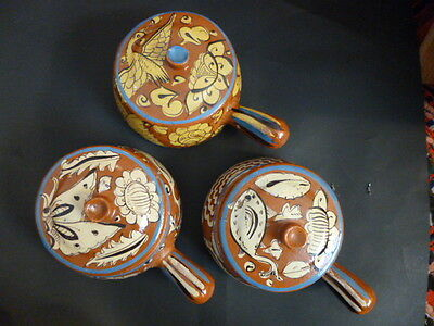 Vintage Redware Mexican Covered Casserole(3)