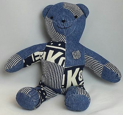 "OshKosh B'Gosh Blue Jean PatchworkTeddy Bear stuffed animal 16"" stripes osh kosh"