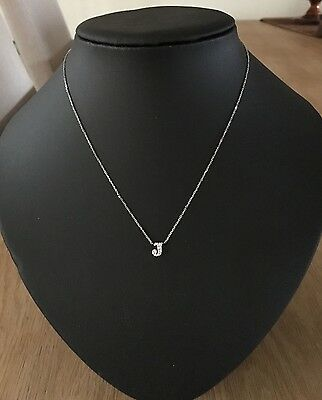 14K White Gold Diamond Initial 'J' Pendant Necklace from Fragments New York