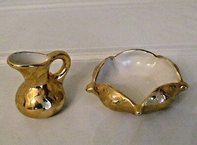 Vtg. Set Of Holley Ross Gold Plated Mini Pitcher & Candy/nut Dish Free Shipping
