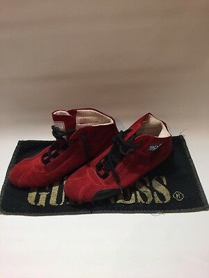 SPARCO ITALIAN SOFT SUEDE FIA RACE DRIVING BOOTS SIZE 7 (40) Dark Red
