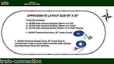 """Kato N Scale 59""""X 25"""" Oval Layout Unitrack Retail Track Pack Set (Track Only)"""