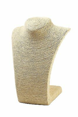"Burlap Necklace Bust Jewelry Display Stand 10.8"" by Juvale"